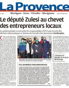 Article la Provence - Visite du député Jean-Marc Zulesi