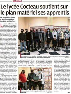 Remise d'ordinateurs reconditionnés aux apprentis - La presse régionale félicite les actions du CFA Futurosud en collaboration avec EVA